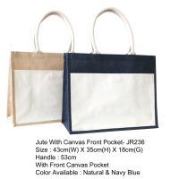 JUTE WITH CANVAS FRONT POCKET S40028-1